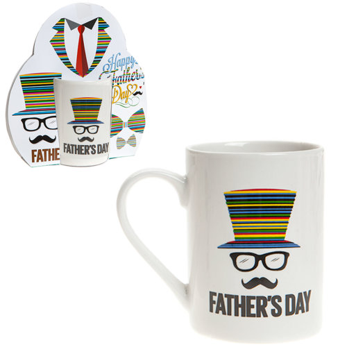 "Father's Day Stoneware Mug - Gift - Colour Design ""Top Hat"""