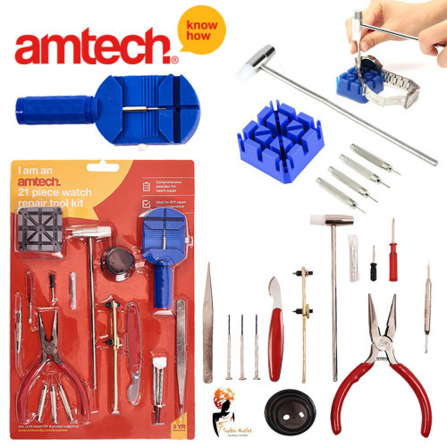 Watchmakers Watch Repair Tool Kit 21 Pcs Link Pins screw drivers (Amtech)