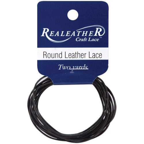 Realeather Crafts Round Leather Lace 1mmX2yd Packaged-Black