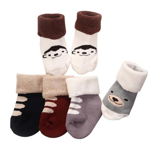 5 Pairs Baby Winter Socks Thick Terry Socks Warm Cotton Socks [B-1]
