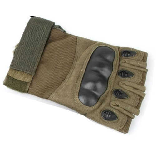 Airsoft  Fingerless Gloves Od Green Large Knuckle Protection Half Finger