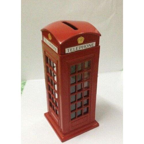 Original British English Metal Alloy Money Coin Spare Change Piggy London Street Red Telephone Booth Bank Souvenir Model Box Jar