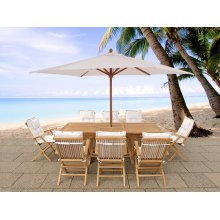 Acacia wood garden furniture - table, 8 chairs with cushions, parasol - JAVA