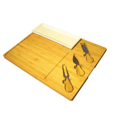 Large Bamboo Cheese Board | 5pc Cheese Tool & Board Set
