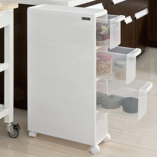 SoBuy® FRG41-W, 4 Drawers Plastic Storage Drawer Unit on Wheels, Storage Trolley