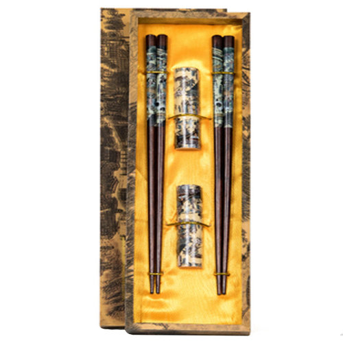 Chopsticks Reusable Set - Asian-style Natural Wooden Chop Stick Set with Case as Present Gift,Q