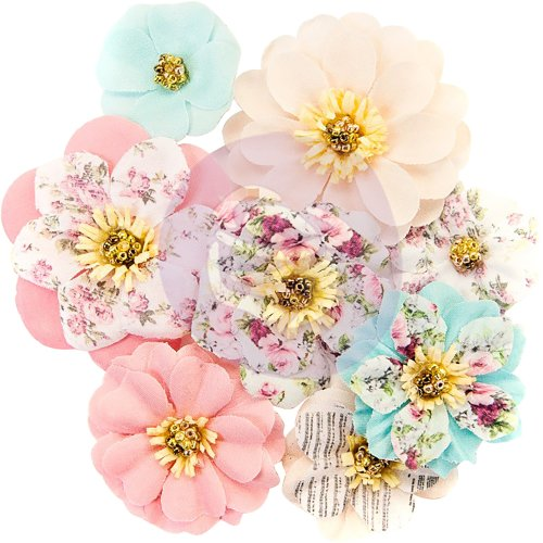 Prima Marketing Misty Rose Fabric Flowers 8/Pkg-Earleen