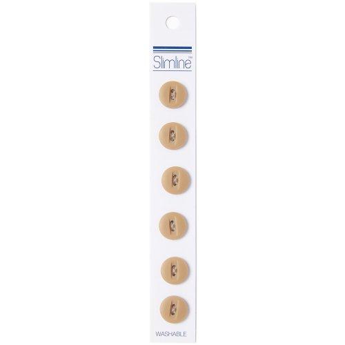 "Slimline Buttons Series 1-Tan 2-Hole 1/2"" 6/Pkg"