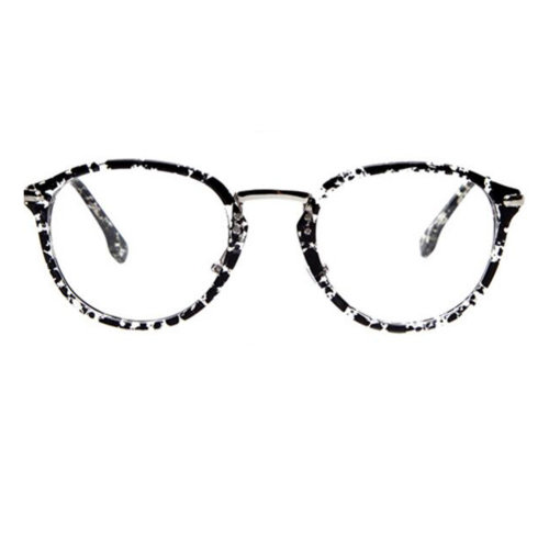 Retro Fashion Round Glasses Frames for Men and Women-Gray Floral