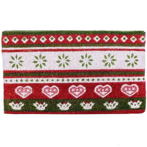 Red, Green & White Scandi Print Christmas Coir Doormat Home Accessory