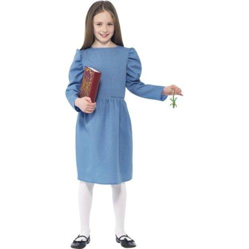 Beautiful Age 7 9 Blue Girls Roald Dahl Matilda Costume   Roald Dahl Dress Costume  Book Matilda Fancy Girls Day Childrens Kids Week Smiffys Outfit