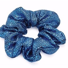 Hair scrunchie Metallic blue Ponytail Bun Holder large