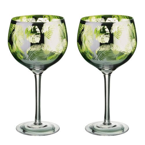 Artland Tropical Leaves Set of 2 Gin Glasses