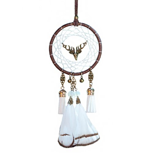 Handmade Dream Catcher with Bells Car Rearview Mirror Hanging Decor Car Charms Pendant