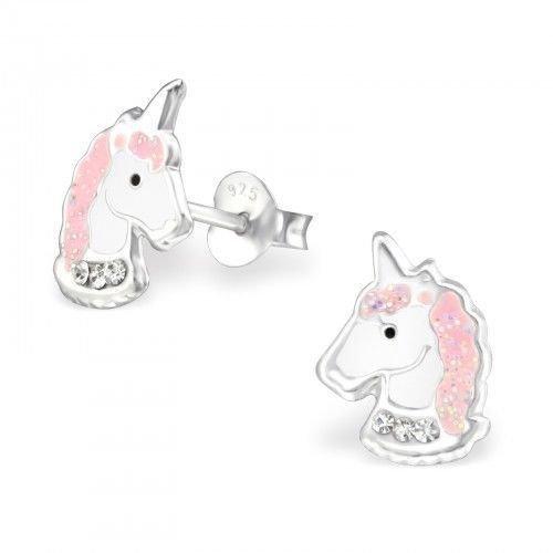 Girls Sterling Silver Pink Glitter Unicorn Stud Earrings