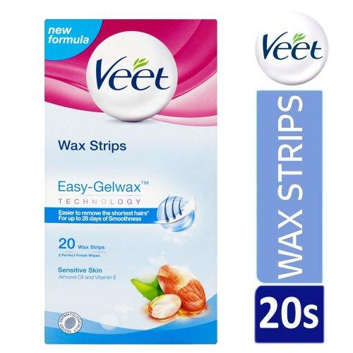 Veet Easy-Gelwax Hair Removal Wax Strips For Sensitive Skin Pack Of 20 Strips