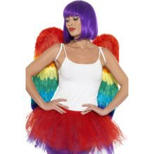 60cm x 60cm Rainbow Feather Fancy Dress Wings. -  wings feather fancy dress rainbow pride parrot adults mens