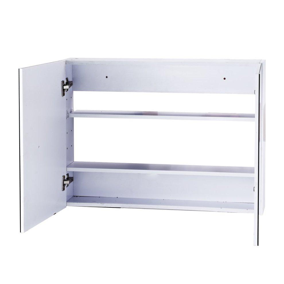 Homcom double door wall mounted glass mirror cabinet shelf for Waterproof bathroom cabinets