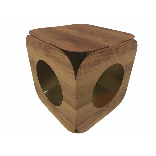 Cardboard Cat House \ Bed - Wood Effect