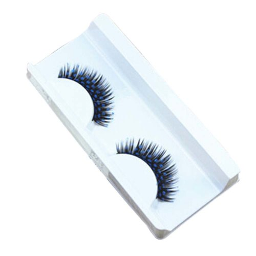 Set of 3 False Eyelashes with Blue Dot Painting Colorful Inkjet Style