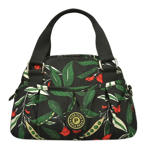 Women Waterproof Zipper Tote Bag Handbag Messenger Bag, Army green, Flower