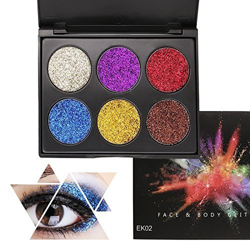 608bc05202 KRABICE 6 Colors Glitter Eye Shadow Brighten Palette Flash Shimmer Natural  Glitter Fix Gel Cosmetic Makeup Body Face Nails Hair Decoration Pigment...