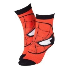 MARVEL COMICS Spider-Man Red Mask Close-up Crew Socks Size 39/42 - Red/Black