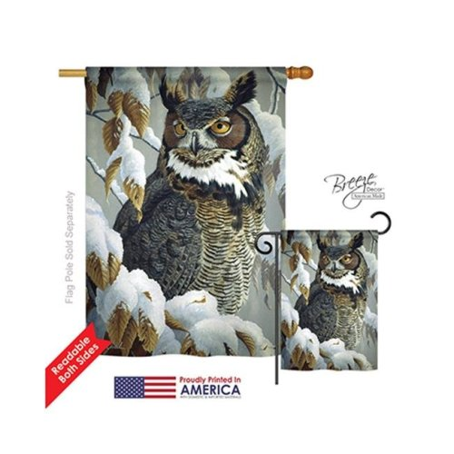Breeze Decor 05042 Birds Great Horned Owl 2-Sided Vertical Impression House Flag - 28 x 40 in.