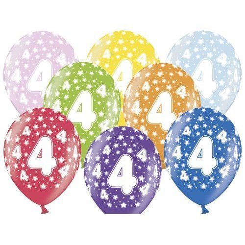 Balloon Happy 4th Birthday Mixed Colours Party Decoration On OnBuy