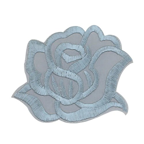 9PCS Embroidered Fabric Patches Sticker Iron Sew On Applique [Rose Grey]