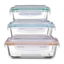 Set Of 3 Freska Glass Containers With Clear Plastic Lids