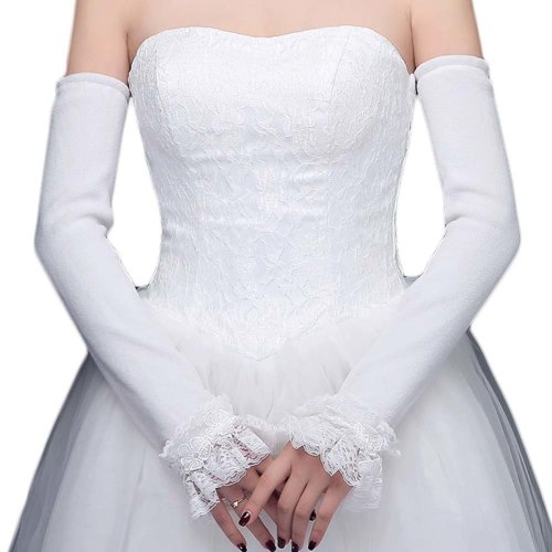 Bridal Wedding Gloves Party Dress Lace Long Gloves A03