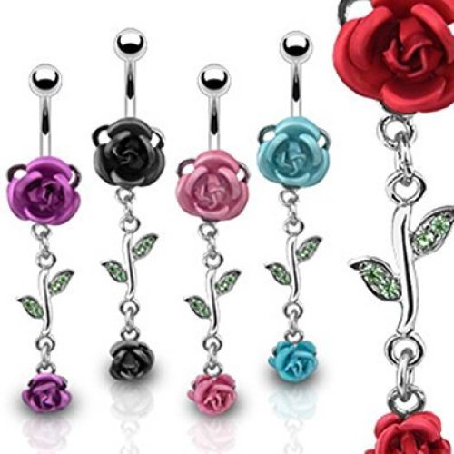 Crystal Topped Detailed Double Metal Rose and Leaves Dangle Surgical Steel Belly Bar