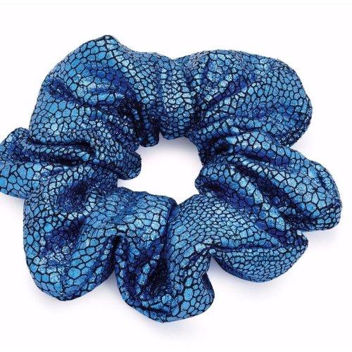 Hair scrunchie Metallic blue Ponytail Bun Holder large