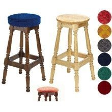 Tamara Wood Bar Stool - Padded / Unpadded Cream Faux Leather Piped Upholstery Light Oak