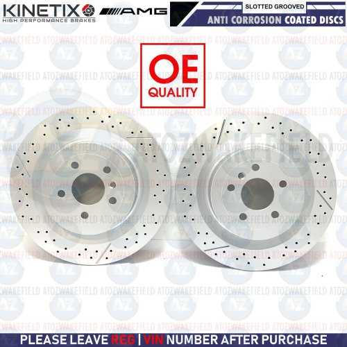 FOR MERCEDES GLS63 AMG 2015- REAR SLOTTED & GROOVED BRAKE DISCS PAIR 345mm