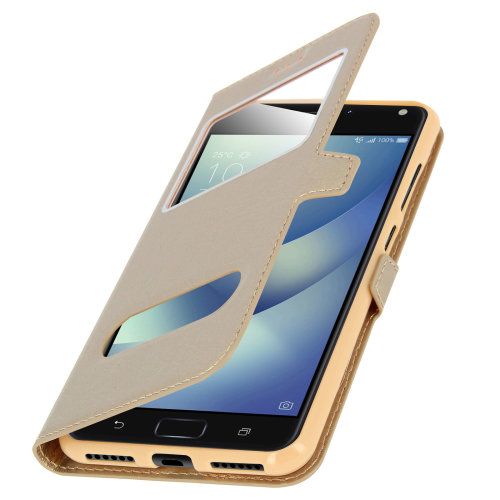 Double window flip standing case for Zenfone 4 Max ZC520KL, TPU shell – Gold