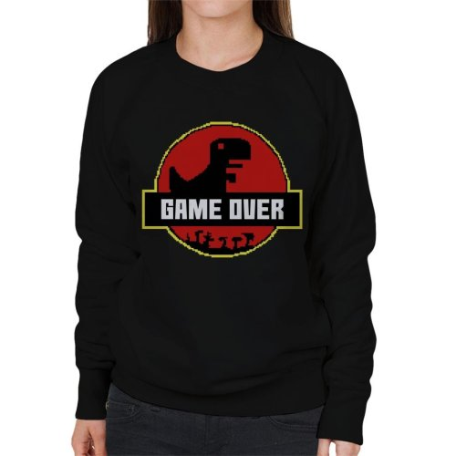 Retro Pixel Game Over T Rex Jurassic Park Women's Sweatshirt