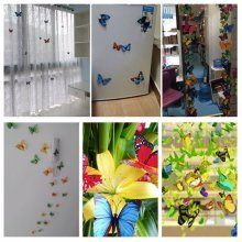 12Pcs 3D Red Butterfly Art Decals Wall Stickers Home Wedding Party Decoration
