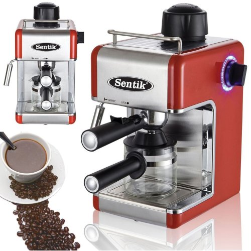 Red Espresso Cappuccino Latte Coffee Maker Machine Stainless Steel