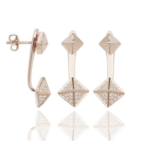 925 Sterling Silver Rose Gold Duo Triangle Ear Jacket Stud Earrings.