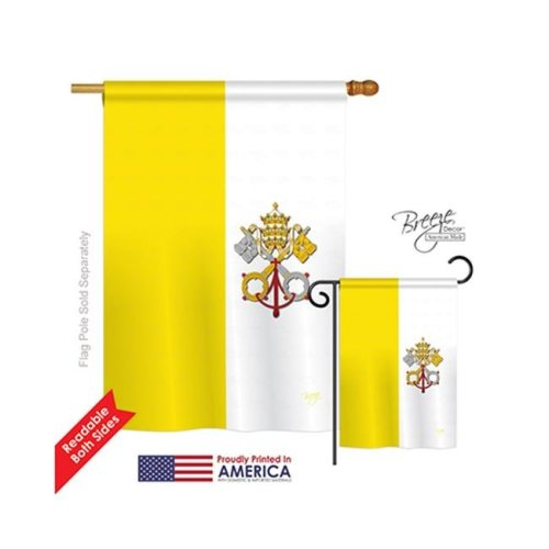 Breeze Decor 08106 Vatican City 2-Sided Vertical Impression House Flag - 28 x 40 in.