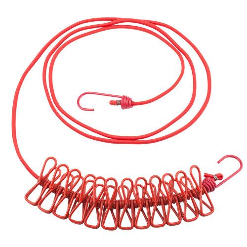 TRIXES Red Long Compact Flexible 12 Peg Travel Washing Line