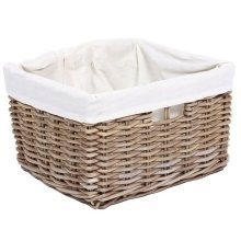 Medium Sized Rectangular Wicker Storage Basket with Cotton Lining