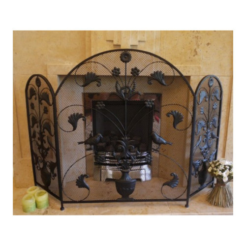 Fireguard - Black Wrought Iron Birds & Leaves Arched Metal and Mesh