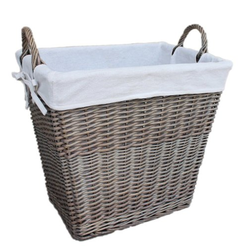 Antique Wash Wicker Rectangular Tapered Linen Bin