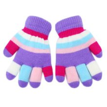 Lovely Mixed Color Double Layer Mittens Baby Hand Gloves, Purple