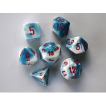 Chessex Gemini Polydice Set - Astral Blue-White/red