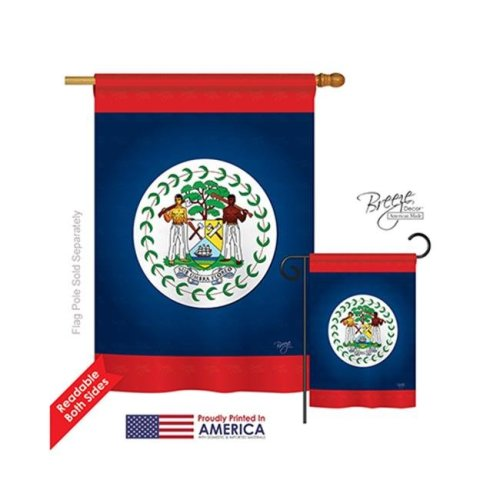Breeze Decor 08163 Belize 2-Sided Vertical Impression House Flag - 28 x 40 in.