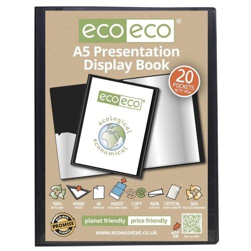 6 x A5 Recycled 20 Pocket / 40 Views Presentation Display Book - Black